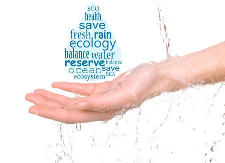 ahorrar agua: Concepto de reserva de agua del mundo, las palabras en forma de gota en la mano aislado en blanco