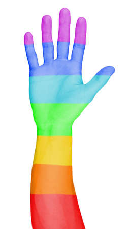 Mans hand painted as the rainbow flag isolated on white photo
