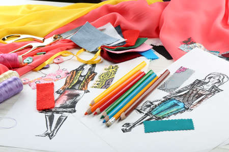 fashion illustration: Workplace of designer clothing close-up