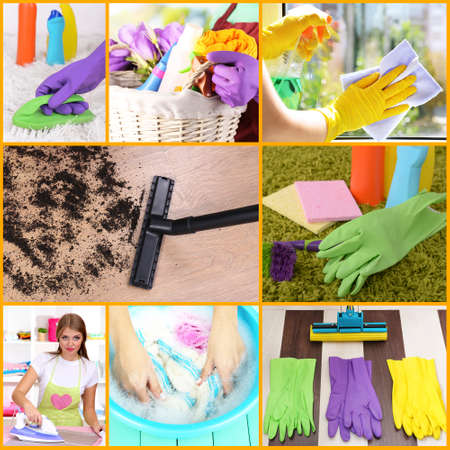 Clean concept. Young housewife with cleaning supplies and tools collage photo