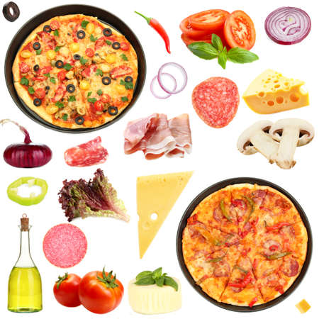 Tasty pizza and ingredients isolated on white photo