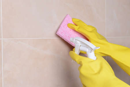 sanitizing: Cleaning tiles close-up