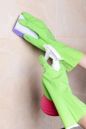 servicio domestico: Azulejos de limpieza primer plano