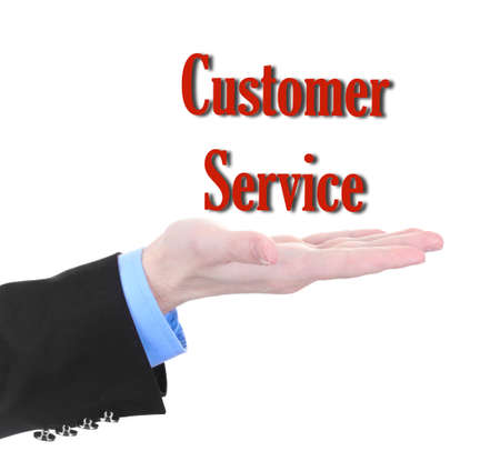 specifying: Businessman hand with Customer Service text isolated on white