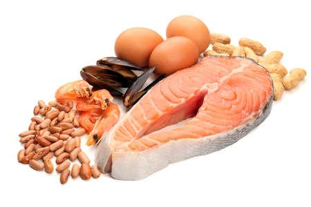 Alimentos ricos en proteínas aisladas en blanco Foto de archivo - 35099183