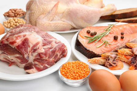 Food high in protein close-up