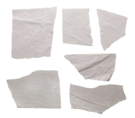 blank papers: Torn blank papers isolated on white
