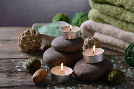 Composition of spa treatment on wooden