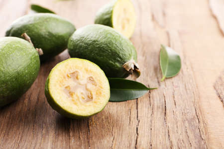 feijoa: Feijoa on table close-up Stock Photo