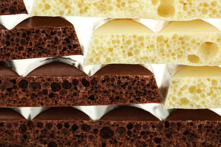 porous: Tasty porous chocolate, close up
