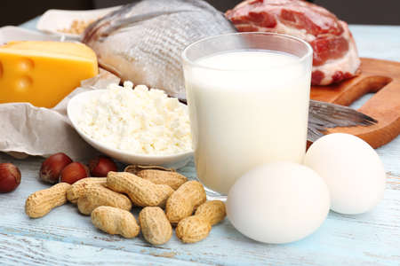 Food high in protein on table, close-up Stock Photo - 35247924