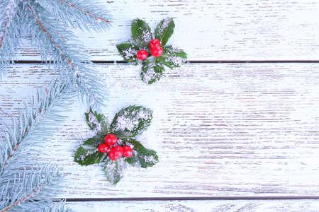 ilex aquifolium holly: European Holly (Ilex aquifolium) with berries and fir tree, on wooden background Stock Photo