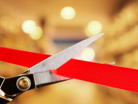 inaugural: Gran apertura, cortando la cinta roja Foto de archivo
