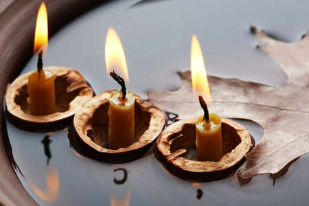 nutshells: Leaves and three nutshells with candles floating in water