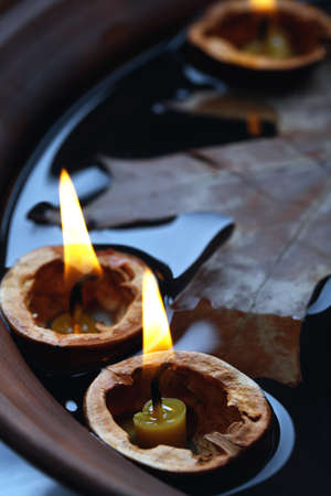 nutshells: Leaf and nutshells with candles floating in water Stock Photo