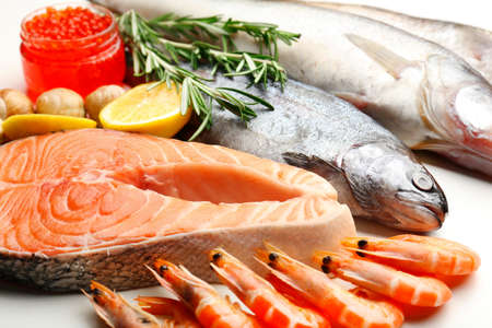 frozen meat: Fresh catch of fish and other seafood close-up