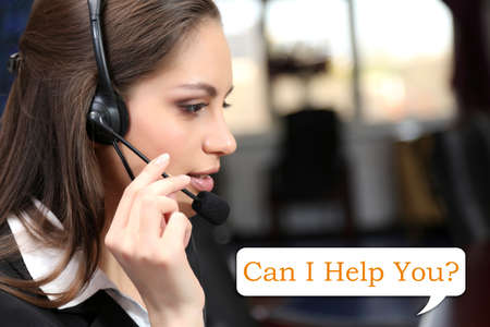 Call center operator and Can I help you? text photo