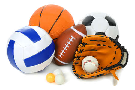 objects equipment: Sports balls isolated on white