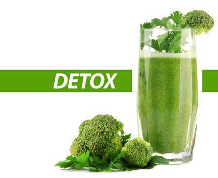 juice fresh vegetables: Glass of green vegetable juice with broccoli and parsley isolated on white, Detox concept Stock Photo