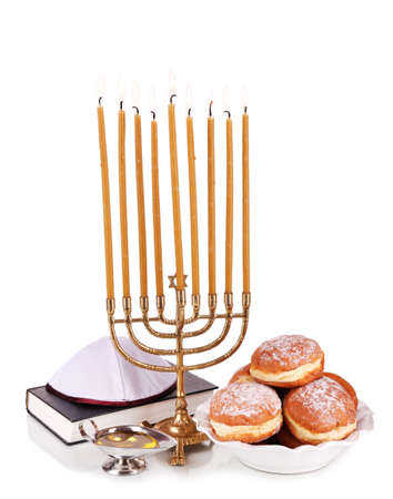 Festive composition for Hanukkah isolated on white photo