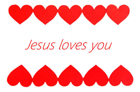 loves: Jesus loves you text in frame