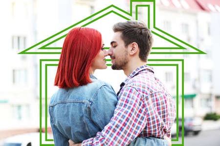 loving couple: Loving couple in drawing house Stock Photo