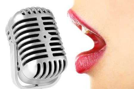 karaoke bar: Singing woman and retro microphone, karaoke concept