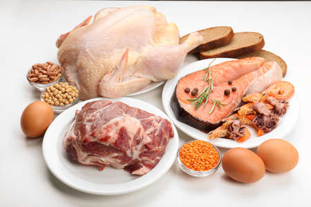 Food high in protein isolated on white Banque d'images
