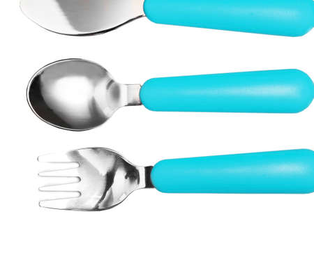 baby cutlery: Blue baby cutlery isolated on white
