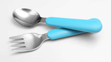 baby cutlery: Cubiertos beb� azul aislado en blanco