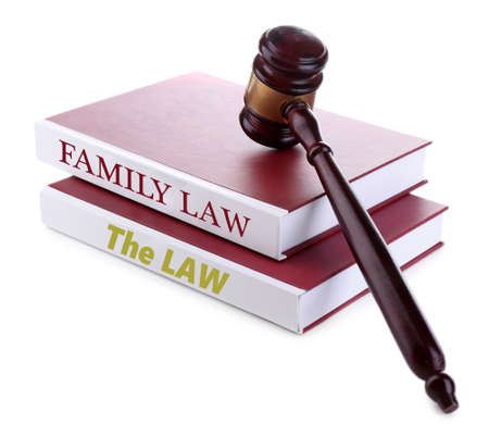 Judges gavel on Family LAW book isolated on white