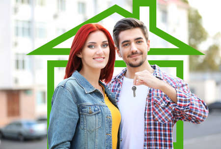 loving: Loving couple in drawing house Stock Photo