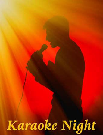 Singing man silhouette on dark color background, Karaoke night concept photo