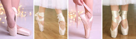 pirouette: Collage of ballerina legs in pointes in dancing hall