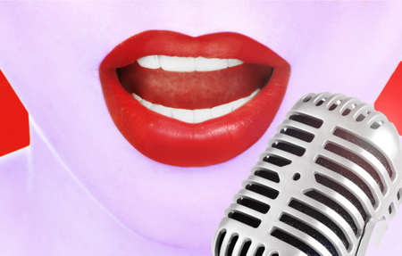 Singing woman and retro microphone, karaoke concept photo