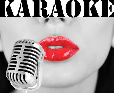 Woman with red lips and retro microphone, karaoke concept