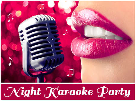 karaoke: Woman and retro microphone on night lights background, karaoke party concept