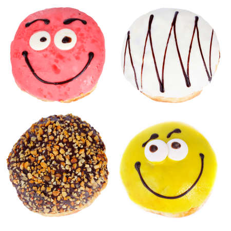 Delicious donuts collage, isolated on white photo