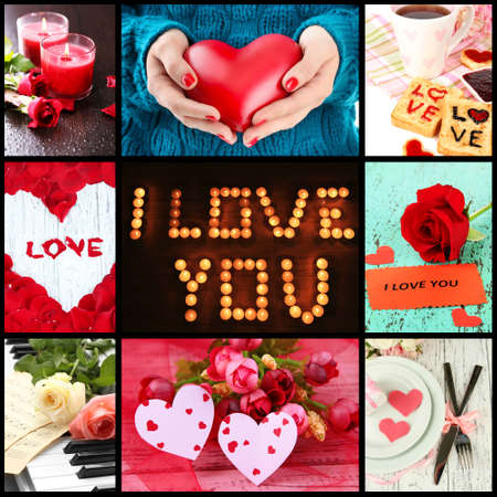 hands fire passion: Valentines Day photo collage Stock Photo