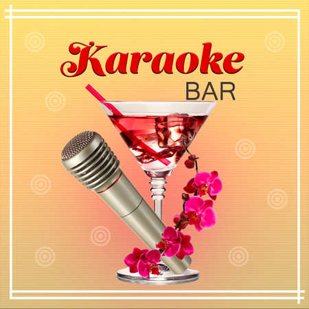 silver bar: Silver microphone and cocktail on color background, Karaoke bar concept Stock Photo