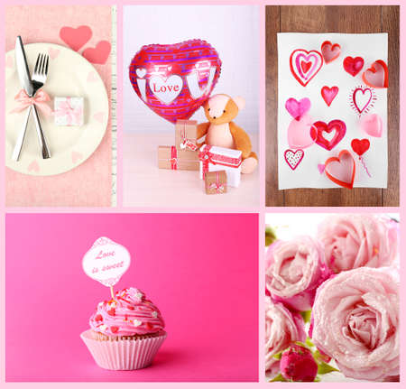 photo collage: Valentines Day photo collage Stock Photo