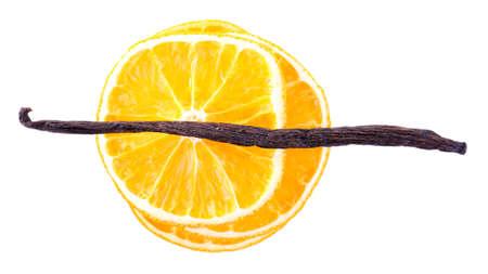 dried orange: Pile of dried orange with vanilla bean isolated on white Stock Photo