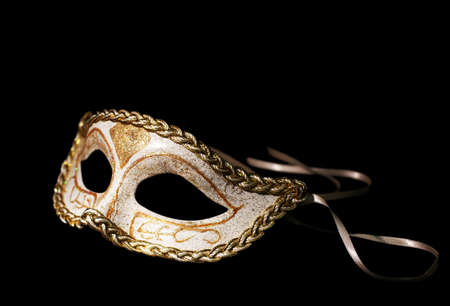black mask: Beautiful carnival mask isolated on black Stock Photo