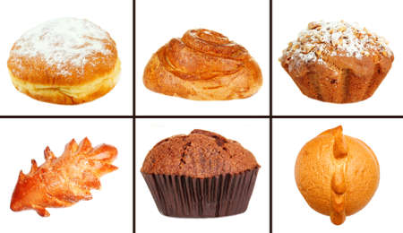 Collage of different pastries and bakery items, isolated on white photo