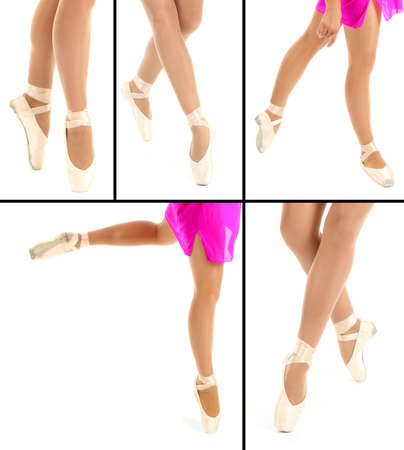 pointes: Collage of ballerina legs in pointes isolated on white