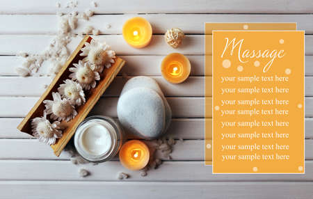 Spa setting on wooden background photo