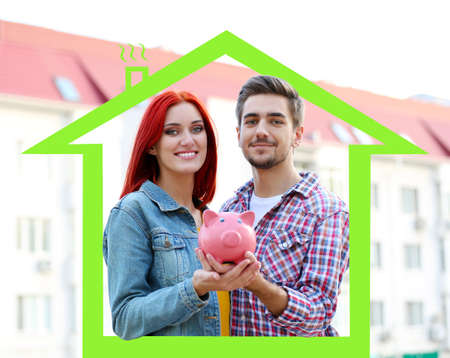 loving couple: Loving couple with piggy bank in drawing house
