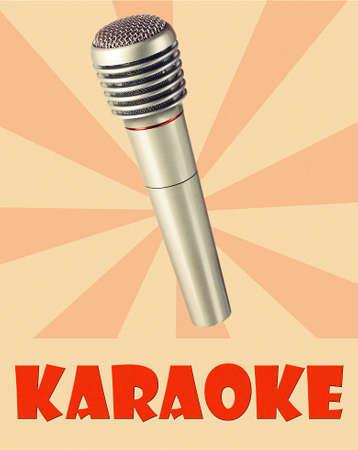 karaoke bar: Silver microphone on color retro background, Karaoke concept