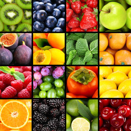 grape fruit: Fruits and berries in colorful collage Stock Photo