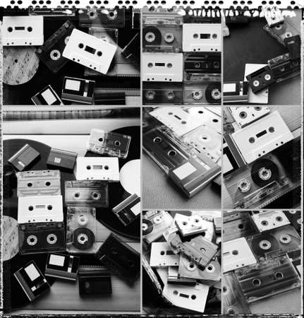 vinyl records: Collection of retro audio tapes and vinyl records in collage Stock Photo